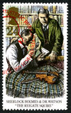 Sherlock Holmes UK Postage Stamp. GREAT BRITAIN - CIRCA 1993: A used postage stamp from the UK, depicting an illustration of a scene from a Sherlock Holmes story Royalty Free Stock Photography