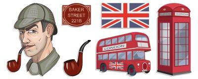 Sherlock Holmes wektor, Londyn, ilustration z Sherlock Holmes, Piekarniana ulica 221B, Sherlock Holmes kapelusz, sławny Londyński ilustracji