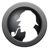 Sherlock Icon Dark Metal. A Sherlock icon in blue isolated on a white background stock illustration