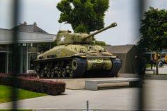 sherman Amerikaanse tank die aan de Tweede Wereldoorlog op vertoning in Normandië, Frankrijk deelnam royalty-vrije stock foto
