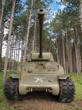Sherman Tank 2. Vintage Sherman Tank at rest in a peaceful forest Royalty Free Stock Photography