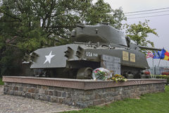Sherman tank dedicated to Col Hogan and to the 771st Tank Battalion Royalty Free Stock Photo
