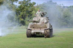 Sherman tank in historical reenactment of WWII Stock Image