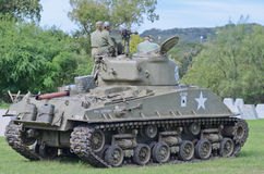 Sherman tank in historical reenactment of WWII Royalty Free Stock Images