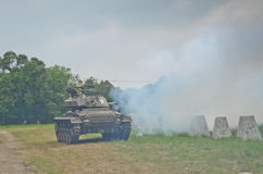 Sherman tank in historical reenactment of WWII Stock Images