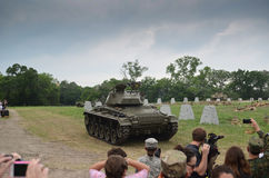 Sherman tank in historical reenactment of WWII Stock Photography