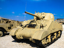 Sherman Tank M4A3 with 105mm fire support. Latrun, Israel Stock Photos
