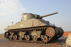 Sherman tank. A second World War American Sherman tank to commermorate the liberation of Westkapelle, the Netherlands Stock Photos