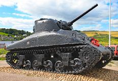 The Sherman tank at Slapton sands in Devon. It was sunk in action during Exercise Tiger which was a rehearsal for the D-Day stock photography
