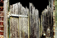 Old Shed Door. The splintered timbers of an old garden shed door in a Norfolk garden - UK Royalty Free Stock Image