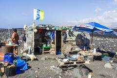 shermans小屋的人们在火山 图库摄影