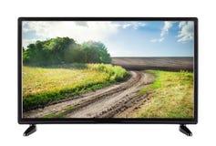 Shermo piatto TV con l'alta risoluzione ed il paesaggio con la strada Fotografia Stock Libera da Diritti