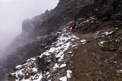 Sherpa водя путь на следе, пике острова, зоне Эвереста, Непале стоковые изображения