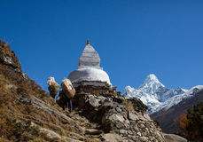 Sherpa carrying a weight in Nepal royalty free stock photography
