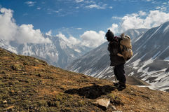 Sherpa in Himalayas. Sherpa in picturesque Himalayas mountains in Nepal Stock Image
