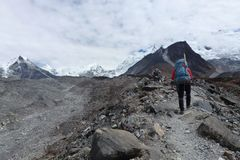 A sherpa on his way to Island Peak in Chukkung, Everest Base Camp trek, Nepal. A sherpa on his way to Island Peak in Chukkung on the Everest Base Camp trek Stock Images