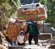 Sherpa porters with goods. KHUMBU, NEPAL, 1st DECEMBER 2014 - Sherpa porters with goods going from Lukla to Namche Bazar, way to Everest base camp, Khumbu valley Royalty Free Stock Image