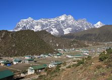Sherpa village Khumjung. After the big earthquake Royalty Free Stock Photo