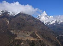 Sherpa village Phortse. Peak of Ama Dablam. Spring scene on the way to Everest base camp, Nepal Royalty Free Stock Photography