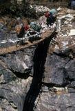 Sherpa y yaks que cruzan el puente de suspensión Imágenes de archivo libres de regalías