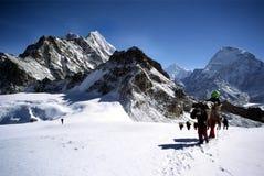 Sherpas und Bergsteiger, die einen Himalayam Gletscher kreuzen Stockbild