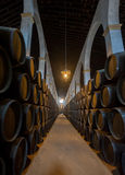 Sherry barrels in Jerez bodega, Spain. Europe Royalty Free Stock Image