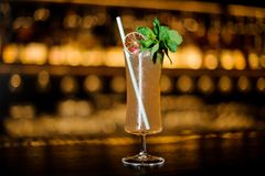 Sherry Cobbler decorated with lemon, rose, mint branch and tubule. Sherry Cobbler in the cocktail glass decorated with lemon, mint branch and tubule on the royalty free stock image