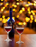 Sherry glasses in front of xmas tree Stock Images