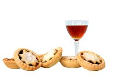 Sherry,and mince pies Stock Photography