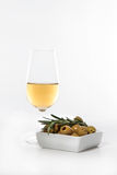 Sherry wine and olives Royalty Free Stock Photo