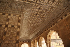 Shesh Mahal Hall of Mirrors Amber palace, Jaipur, India. Royalty Free Stock Image