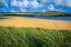 Shetland öar - tombolo - St Ninian Beach Royaltyfria Foton