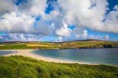 Shetland öar - tombolo - St Ninian Beach Arkivfoton