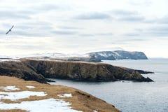 Shetland Islands. Seascape, snow covered remote landscape Stock Images