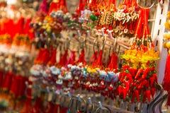 Sheung Wan, Hong Kong - September 22, 2016 : Jade key chain and. Bracelet for sale at Upper Lascar Row in Hong Kong royalty free stock photos
