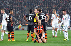 Shevchuk Vyacheslav kneel. Photo was taken during the match between Shakhtar (Donetsk, Ukraine) 0-0 Bayer 04 (Leverkusen, Germany) 2013/14 UEFA Champions League royalty free stock image