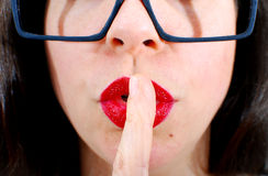 Shh Be Quiet. Image of a model giving the shh gesture Stock Photography
