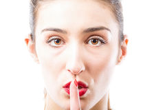 Shh. Finger on lips. Stock Photography