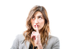 Shh. Finger on lips. Royalty Free Stock Photos
