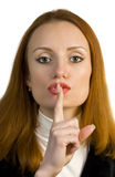 Shh sign. Woman secret. Keep silence. Beautiful attractive woman isolated on white Royalty Free Stock Photos
