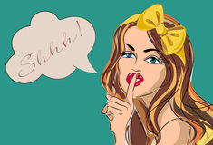 Shhh bubble pop art woman face with finger on lips Silence Gesture Stock Image