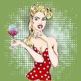 Shhh cara de la mujer del arte pop con el finger en sus labios y vidrio de vino Foto de archivo libre de regalías
