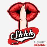 Shhh modello silenzioso di progettazione della maglietta del segno della mano Fotografia Stock