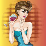 Shhh pop art sexy woman face with finger on her lips and glass of wine Stock Photo