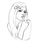 Shhh Tsss dziewczyna Zdjęcia Stock