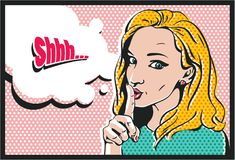 Shhh... Woman with finger on lips, silence gesture, pop art style woman. Banner Royalty Free Stock Photography