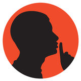 Shhhh. Illustration of a young man asking for silence sign Stock Photos