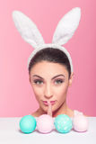 Shhhh - Keeping the Easter bunny a secret Stock Images