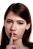 Shhhhh Woman! Finger On Lips. Silent - Silence Stock Image Royalty Free Stock Photography