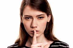Shhhhh Woman! Finger On Lips. Silent - Silence Stock Image Stock Image